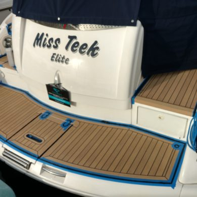 Miss Teek Elite synthetic teak boat floor completion
