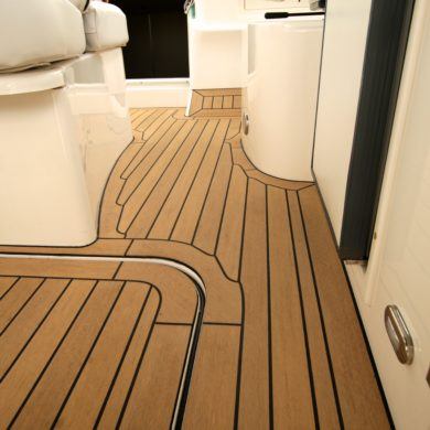 Miss Teek Elite synthetic teak boat floor replacement corridor