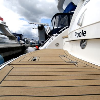 Miss Teek Elite synthetic teak boat floor replacement close up