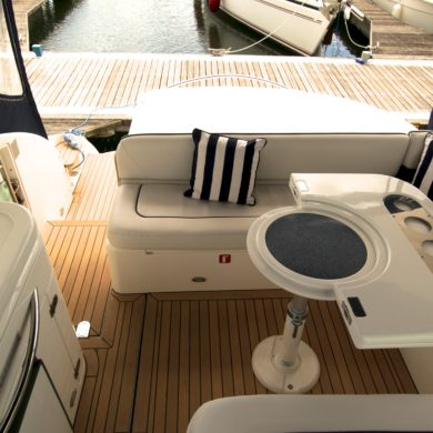 Miss Teek Elite synthetic teak boat floor replacement lounge