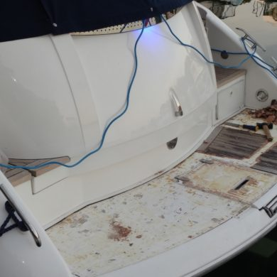 Miss Teek Elite synthetic teak boat floor installation stages